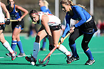 DURHAM, NC - NOVEMBER 11: Miami's Henni Otten (GER) (left) and Duke's Lily Posternak (right). The Duke University Blue Devils hosted the Miami University (Ohio) Redhawks on November 11, 2017 at Jack Katz Stadium in Durham, NC in an NCAA Division I Field Hockey Tournament First Round game. Duke won the game 4-2.