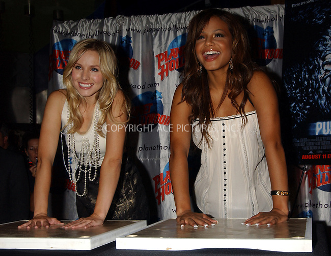 "WWW.ACEPIXS.COM . . . . . ....NEW YORK, AUGUST 7, 2006....Christina Milian and Kristen Bell Appear at Planet Hollywood for Handprint Ceremony and to Promote New Film ""Pulse"".....Please byline: KRISTIN CALLAHAN - ACEPIXS.COM.. . . . . . ..Ace Pictures, Inc:  ..(212) 243-8787 or (646) 679 0430..e-mail: picturedesk@acepixs.com..web: http://www.acepixs.com"