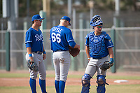 Nick Pratto (13), Evan Steele (66), and Chase Vallot (3) of the Kansas City Royals during an Instructional League game against the San Francisco Giants at the Giants Training Complex on October 17, 2017 in Scottsdale, Arizona. (Zachary Lucy/Four Seam Images)