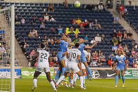 Chicago, IL - Saturday July 30, 2016: Cara Walls, Nicole Barnhart, Stephanie McCaffrey during a regular season National Women's Soccer League (NWSL) match between the Chicago Red Stars and FC Kansas City at Toyota Park.