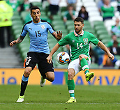 June 4th 2017, Aviva Stadium, Dublin, Ireland; International Friendly, Ireland versus Uruguay;  Wes Hoolahan of Ireland battles with Matias Vecino of Uruguay for the ball