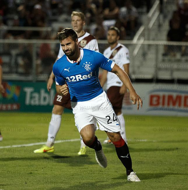 Darren McGregor celebrates his goal for Rangers