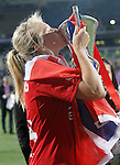 Olympique Lyonnais' Ada Hegerberg celebrates the victory in the UEFA Women's Champions League 2015/2016 Final match.May 26,2016. (ALTERPHOTOS/Acero)