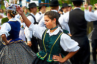 Hungarian folk dancers in tradtional Hungarian costume celebrating the wine festival - Badascony, Hungary