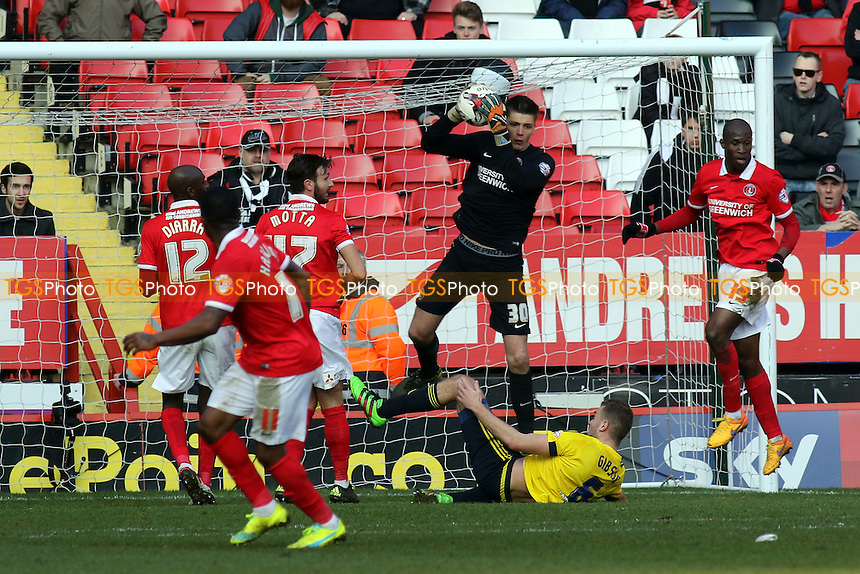 Charlton goalkeeper, Nick Pope, makes a fine save to thwart the Middlesbrough attack during Charlton Athletic vs Middlesbrough, Sky Bet Championship Football at The Valley on 13th March 2016