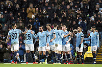 Manchester City's Kevin De Bruyne (No.17) celebrates with team-mates after scoring his side's third goal <br /> <br /> Photographer Rich Linley/CameraSport<br /> <br /> Emirates FA Cup Fourth Round - Manchester City v Burnley - Saturday 26th January 2019 - The Etihad - Manchester<br />  <br /> World Copyright © 2019 CameraSport. All rights reserved. 43 Linden Ave. Countesthorpe. Leicester. England. LE8 5PG - Tel: +44 (0) 116 277 4147 - admin@camerasport.com - www.camerasport.com