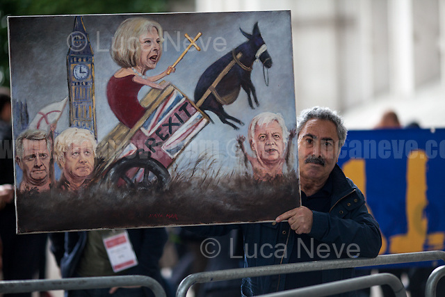 Kaya Mar (Painter and political caricaturist, http://www.kayamarart.com/ ).<br /> <br /> London, 09/06/2017. Today, the newly elected British Prime Minister, Theresa May, speaks outside 10 Downing Street to announce the result of the General Election 2017, where the Conservative Party lost its parliamentary majority and the election resulted in a hung Parliament, and to inform the public that she will form her new minority Conservative government in coalition with the Democratic Unionist Party (DUP - http://bit.ly/2s93eHf), the largest unionist political party in Northern Ireland led by Arlene Foster. Earlier, Theresa May and her husband, Philip John May, went to Buckingham Palace to meet HM Queen Elizabeth II seeking the permission to form May's second Government as British Prime Minister.<br /> After 5 years of the Coalition Government (Conservatives &amp; Liberal Democrats) led by the Conservative Party leader David Cameron, and one year of David Cameron's Government (Who resigned after the Brexit victory at the EU Referendum held in 2016), British people voted in the following way: Conservative Party 318 seats (42.4% - 13,667,213 votes &ndash; 12 seats less than 2015), Labour Party 262 seats (40,0% - 12,874,985 votes &ndash; 30 seats more then 2015); Scottish National Party, SNP 35 seats (3,0% - 977,569 votes &ndash; 21 seats less than 2015); Liberal Democrats 12 seats (7,4% - 2,371,772 votes &ndash; 4 seats more than 2015); Democratic Unionist Party 10 seats (0,9% - 292,316 votes &ndash; 2 seats more than 2015); Sinn Fein 7 seats (0,8% - 238,915 votes &ndash; 3 seats more than 2015); Plaid Cymru 4 seats (0,5% - 164,466 votes &ndash; 1 seat more than 2015); Green Party 1 seat (1,6% - 525,371votes &ndash; Same seat of 2015); UKIP 0 seat (1.8% - 593,852 votes); others 1 seat. <br /> The definitive turn out of the election was 68.7%, 2% higher than the 2015.<br /> <br /> For more information click here: http://bbc.in/2qVyNRd &amp; http://bit.ly/2s9ob51<br /> <br />