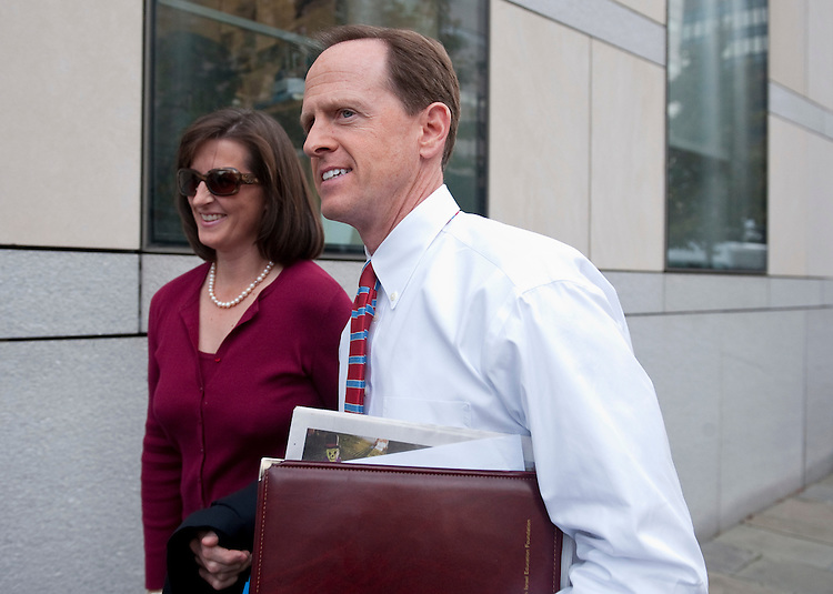 UNITED STATES - OCTOBER 20: Republican Senate candidate Pat Toomey and his wife Kris arrive at the National Constitution Center in Philadelphia for his debate with Democratic candidate Joe Sestak on Wednesday, Oct. 20, 2010. (Photo By Bill Clark/Roll Call via Getty Images)