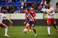 Eriq Zavaleta (22) of Chivas USA. The New York Red Bulls and Chivas USA played to a 1-1 tie during a Major League Soccer (MLS) match at Red Bull Arena in Harrison, NJ, on March 30, 2014.