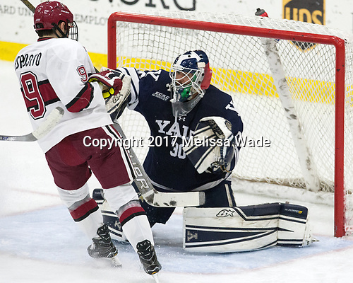 Luke Esposito (Harvard - 9), Patrick Spano (Yale - 30) - The Harvard University Crimson tied the visiting Yale University Bulldogs 1-1 on Saturday, January 21, 2017, at the Bright-Landry Hockey Center in Boston, Massachusetts.