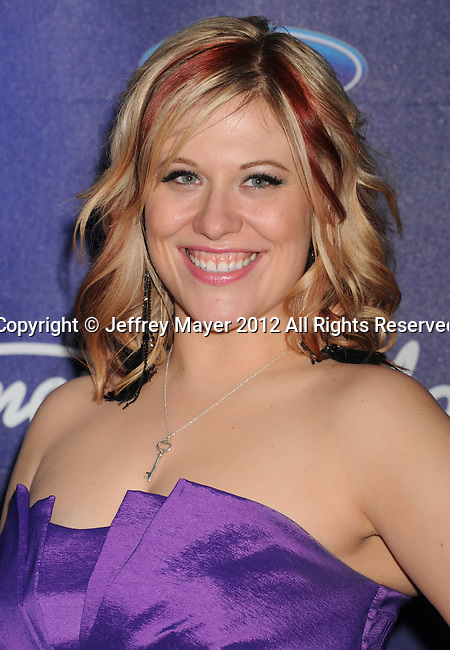 LOS ANGELES, CA - MARCH 01: Erika Van Pelt arrives at the American Idol Finalists party at The Grove Parking Structure Rooftop on March 1, 2012 in Los Angeles, California.