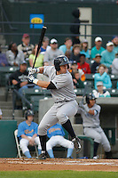 Wilmington Blue Rocks infielder Frank Schwindel (43) at bat during a game against the Myrtle Beach Pelicans at Ticketreturn.com Field at Pelicans Ballpark on April 10, 2015 in Myrtle Beach, South Carolina. Wilmington  defeated Myrtle Beach 8-3. (Robert Gurganus/Four Seam Images)