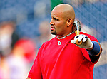 28 August 2010: St. Louis Cardinals first baseman Albert Pujols awaits his turn in the batting cage prior to a game against the Washington Nationals at Nationals Park in Washington, DC. The Nationals defeated the Cards 14-5 to take the third game of their 4-game series. Mandatory Credit: Ed Wolfstein Photo