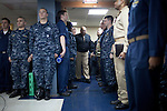 Vice Admiral Adam M. Robinson, the U.S. Navy Surgeon General, comes on board the USNS Comfort, a naval hospital ship, to talk to sailors before their mission to help survivors of the earthquake in Haiti on Friday, January 15, 2010 in Baltimore, MD.