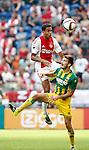 Nederland, Amsterdam, 30 augustus 2015<br /> Eredivisie<br /> Seizoen 2015-2016<br /> Ajax-ADO Den Haag<br /> Jairo Riedewald van Ajax en Edouard Duplan van ADO strijden in een duel om de bal.