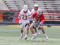 College Park, MD - April 22, 2018: Maryland Terrapins Adam DiMillo (23) and Ohio State Buckeyes Freddy Freibott (44) fights for a loose ball during game between Ohio St. and Maryland at  Capital One Field at Maryland Stadium in College Park, MD.  (Photo by Elliott Brown/Media Images International)