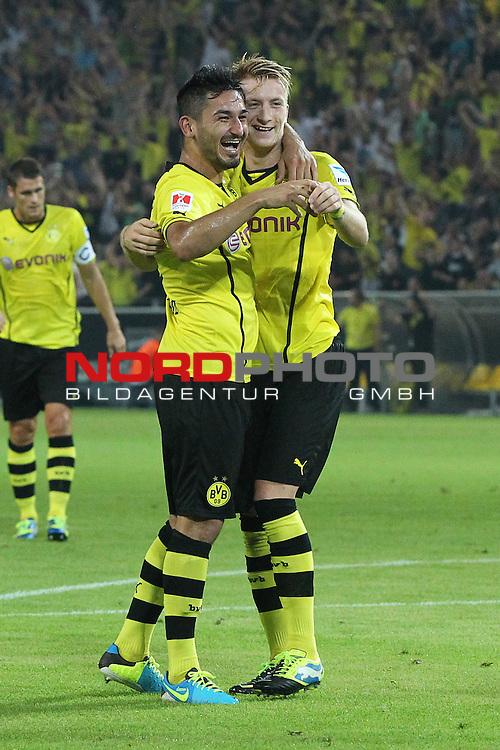 27.07.2013, Signal Iduna Park, Dortmund, GER, 1. FBL, SuperCup, Borussia Dortmund vs FC Bayern M&uuml;nchen, im Bild<br /> Torjubel / Jubel  nach dem 2:1 durch Ilkay G&uuml;ndogan / Guendogan (Dortmund #8) (li.) mit Marco Reus (Dortmund #11)<br /> <br /> Foto &copy; nph / Mueller