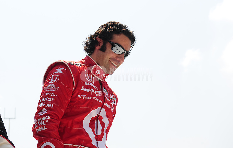 May 30, 2010; Indianapolis, IN, USA; IndyCar Series driver Dario Franchitti prior to the Indianapolis 500 at the Indianapolis Motor Speedway. Mandatory Credit: Mark J. Rebilas-