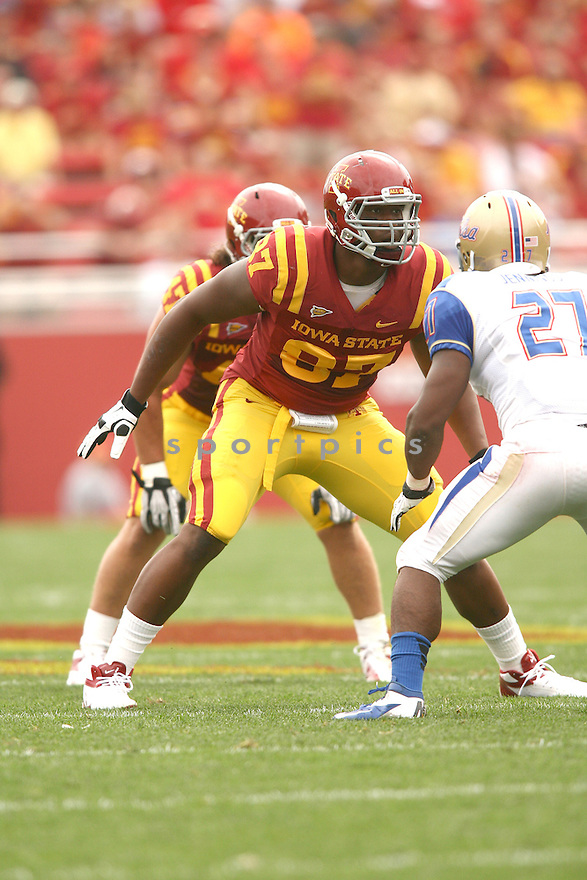 Iowa State Cyclones David Irving (87) in action during a game against the Tulsa Golden Hurricane on September 1, 2012 at Jack Trice Stadium in Ames, IA. Iowa State beat Tulsa 38-23.