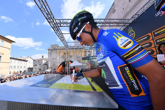 Race leader Nairo Quintana (COL) Movistar Team Maglia Azzura wearer at sign on before the start of Stage 6 of the 2017 Tirreno Adriatico running 168km from Ascoli Piceno to Civitanova Marche, Italy. 13th March 2017.<br /> Picture: La Presse/Gian Mattia D'Alberto | Cyclefile<br /> <br /> <br /> All photos usage must carry mandatory copyright credit (&copy; Cyclefile | La Presse)