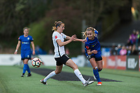 Seattle, WA - Saturday April 15, 2017: Sarah Killion, Beverly Yanez during a regular season National Women's Soccer League (NWSL) match between the Seattle Reign FC and Sky Blue FC at Memorial Stadium.
