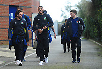 Blackburn Rovers' Bradley Dack, Dominic Samuel and Richard Smallwood arrive at the Memorial Stadium<br /> <br /> Photographer Ashley Crowden/CameraSport<br /> <br /> The EFL Sky Bet League One - Bristol Rovers v Blackburn Rovers - Saturday 14th April 2018 - Memorial Stadium - Bristol<br /> <br /> World Copyright &copy; 2018 CameraSport. All rights reserved. 43 Linden Ave. Countesthorpe. Leicester. England. LE8 5PG - Tel: +44 (0) 116 277 4147 - admin@camerasport.com - www.camerasport.com