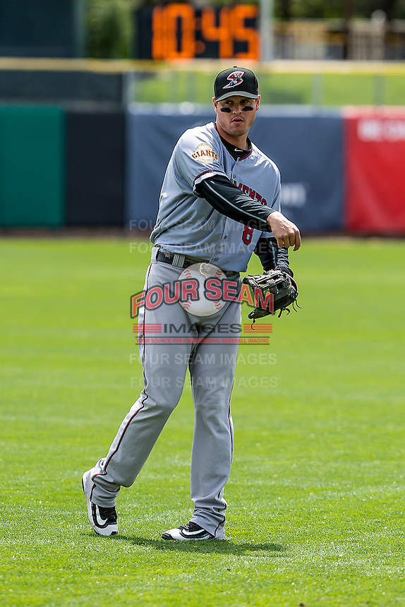 Grant Green (8) of the Sacramento River Cats before the game against the Salt Lake Bees in Pacific Coast League action at Smith's Ballpark on May 01, 2016 in Salt Lake City, Utah. Sacramento defeated Salt Lake 16-6.  (Stephen Smith/Four Seam Images)