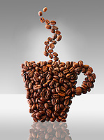 Coffee mug made out of coffee beans