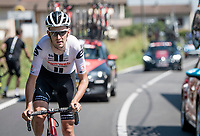 Tiesj Benoot (BEL/Lotto-Soudal) back on his way after a flat<br /> <br /> 'La Primavera' (Spring) in summer!<br /> 111st Milano-Sanremo 2020 (1.UWT)<br /> 1 day race from Milano to Sanremo (305km)<br /> <br /> the postponed edition > exceptionally held in summer because of the Covid-19 pandemic calendar reshuffle