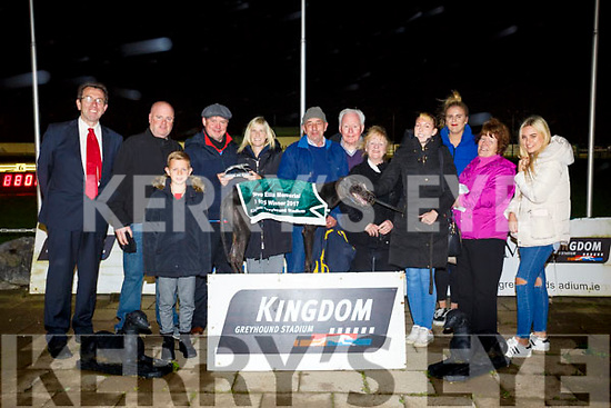 Saleen Brax Winner of the Steve Ellis Memorial Stakes Final at the Kingdom Greyhound Stadium on Friday. Pictured Declan Dowling, Mike Cronin, Berky Brown, Natalie Smith, Tom O'Connor, Liam Houlihan, Theresa Houlihan, Christina O'Connor, Molly Smith, Grace Smith, Hannah Ray and Kenny Smith