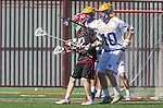 Santa Barbara, CA 04/16/16 - Sam Holton (UCSB #10) and Connor  Reilly (Chapman #42) in action during the final regular MCLA SLC season game between Chapman and UC Santa Barbara.  Chapman defeated UCSB 15-8.
