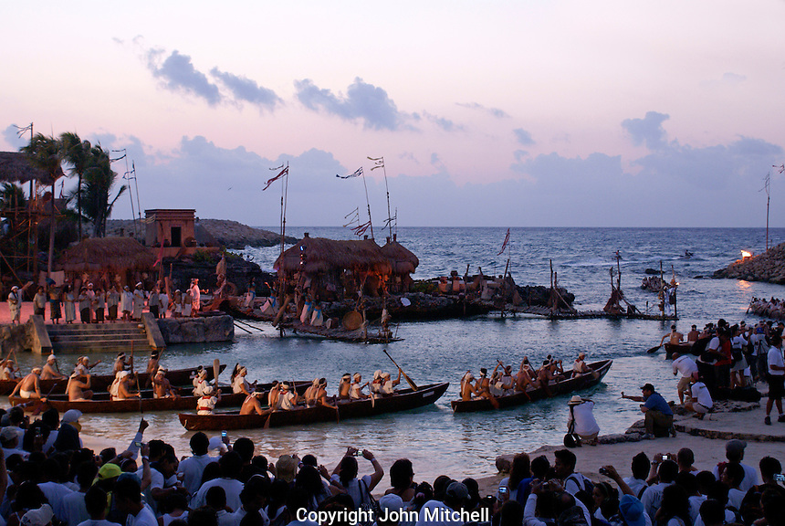 Canoes leaving the village of Ppole at dawn during the Sacred Mayan Journey 2011 event, Riviera Maya, Quintana Roo, Mexico