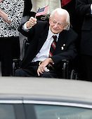 "Washington, DC - August 29, 2009 -- United States Senator Robert Byrd (Democrat of West Virginia), waves a flag as the family of former U.S. Senator Edward M. ""Ted"" Kennedy (Democrat of Massachusetts) departs the U.S. Capitol following a memorial remembrance on Saturday, August 29, 2009..Credit: Ron Sachs / CNP.(RESTRICTION: NO New York or New Jersey Newspapers or newspapers within a 75 mile radius of New York City)"