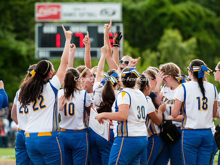 SEYMOUR, CT-30 May 2014-053014EC05-  The Seymour softball team reacts to defeating Torrington, 2-1, to win the NVL softball championship at Woodland Friday. Erin Covey Republican-American