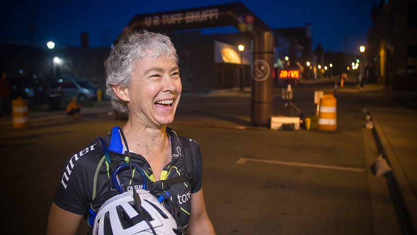 Faces of finishers following the Marji Gesick 100 in Marquette County, Michigan.