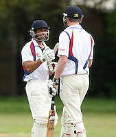 Sam Samarasekera (left) of Hornchurch Athletic - Hornchurch Athletic CC vs Galleywood CC, Essex Club Cricket at Hylands Park, Hornchurch - 18/05/13 - MANDATORY CREDIT: Rob Newell/TGSPHOTO - Self billing applies where appropriate - 0845 094 6026 - contact@tgsphoto.co.uk - NO UNPAID USE