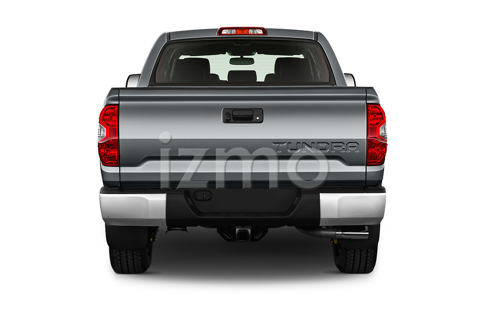 Straight rear view of 2017 Toyota Tundra TRD-Pro-4WD-Crew-Max-Short-Bed 4 Door Pickup Rear View  stock images