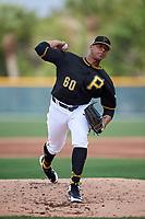 Pittsburgh Pirates pitcher Jesus Liranzo (60) throws live batting practice during the teams first Spring Training practice on February 18, 2019 at Pirate City in Bradenton, Florida.  (Mike Janes/Four Seam Images)
