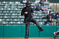 Home plate umpire Anthony Perez works the NCAA baseball game between the West Virginia Mountaineers and the Illinois Fighting Illini at TicketReturn.com Field at Pelicans Ballpark on February 23, 2020 in Myrtle Beach, South Carolina. The Fighting Illini defeated the Mountaineers 2-1.  (Brian Westerholt/Four Seam Images)