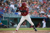 Frisco RoughRiders LeDarius Clark (2) bats during a Texas League game against the Amarillo Sod Poodles on July 12, 2019 at Dr Pepper Ballpark in Frisco, Texas.  (Mike Augustin/Four Seam Images)