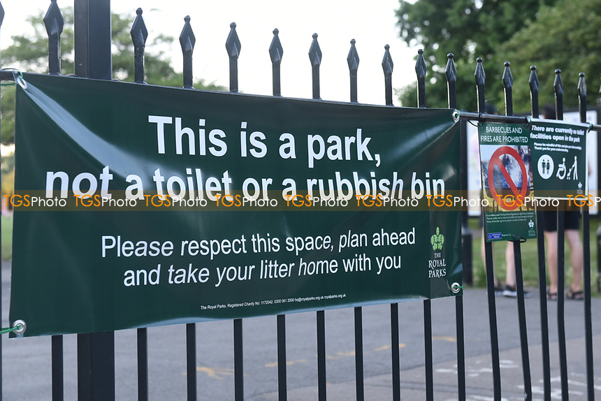 'This is a park not a toilet or a rubbish bin' banner displayed at Primrose Hill during the coronavirus pandemic
