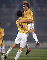 Borja (9) celebrates with Marc Muniesa (5). Spain defeated the U.S. Under-17 Men National Team  2-1 at Sani Abacha Stadium in Kano, Nigeria on October 26, 2009.
