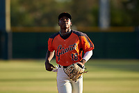 AZL Giants Orange center fielder P.J. Hilson (16) jogs off the field between innings of a game against the AZL Angels at Giants Baseball Complex on June 17, 2019 in Scottsdale, Arizona. AZL Giants Orange defeated AZL Angels 8-4. (Zachary Lucy/Four Seam Images)