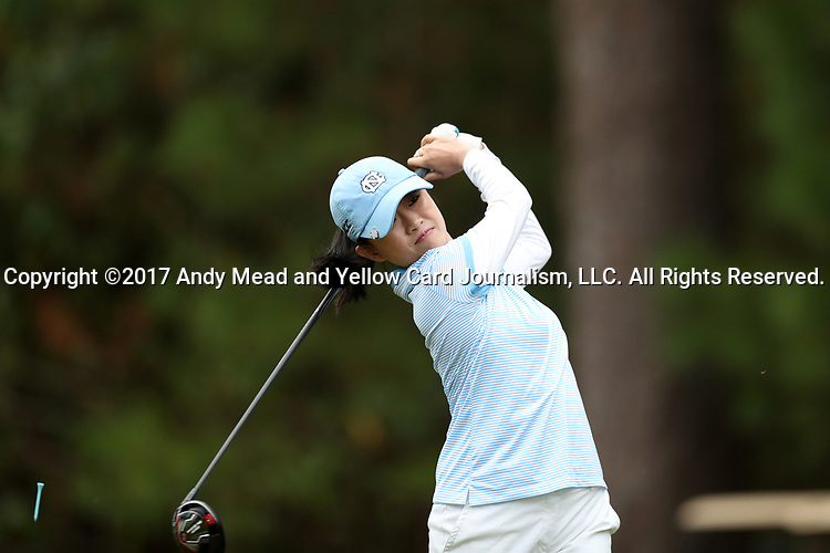 CHAPEL HILL, NC - OCTOBER 15: North Carolina's Cheni Xu (CHN) on the 18th tee. The third and final round of the Ruth's Chris Tar Heel Invitational Women's Golf Tournament was held on October 15, 2017, at the UNC Finley Golf Course in Chapel Hill, NC.