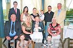 2377-2382.---------.New Arrival.-----------.Lisa Harty and Martin McLoughlin Jnr seated centre from The Anchorage,the basin Tralee,celebrated the christening of their new baby Tiarnan last Saturday in St John's church Tralee by Fr Kevin O'Brien and after to a fab family party in the Ballyroe Heights hotel,seated front L-R Martin McLoughlin Snr,Lisa Harty,Martin McLouglin Jnr holding baby Tiarnan and Maureen Harty,kids kneeling were Eren O Sullivan and Jamie McLoughlin,(Back)L-R Brian O Hartaigh,Caroline O Sullivan,Laura&Ciara McLoughlin,Vinny Hendy and Frank Harty.