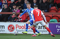 Blackpool's Calum MacDonald under pressure from Fleetwood Town's Wes Burns<br /> <br /> Photographer Kevin Barnes/CameraSport<br /> <br /> The EFL Sky Bet League One - Fleetwood Town v Blackpool - Saturday 7th March 2020 - Highbury Stadium - Fleetwood<br /> <br /> World Copyright © 2020 CameraSport. All rights reserved. 43 Linden Ave. Countesthorpe. Leicester. England. LE8 5PG - Tel: +44 (0) 116 277 4147 - admin@camerasport.com - www.camerasport.com
