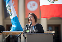 Jaclyn Rodríguez, Professor, Latino/a and Latin American Studies. Latinx Graduation Celebration at Thorne Lawn/Patio, May 20, 2017.<br /> Cultural Graduation Celebrations are an opportunity for smaller groups to come together and acknowledge students' accomplishments with family and friends while celebrating the rich diversity of our campus. The Office of Intercultural Affairs partners with cultural organizations to coordinate the events.<br /> (Photo by Marc Campos, Occidental College Photographer)