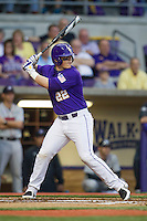 LSU Tigers designated hitter Kade Scivicque #22 at bat during the Southeastern Conference baseball game against the Georgia Bulldogs on March 22, 2014 at Alex Box Stadium in Baton Rouge, La. The Tigers defeated the Bulldogs 2-1. (Andrew Woolley/Four Seam Images)
