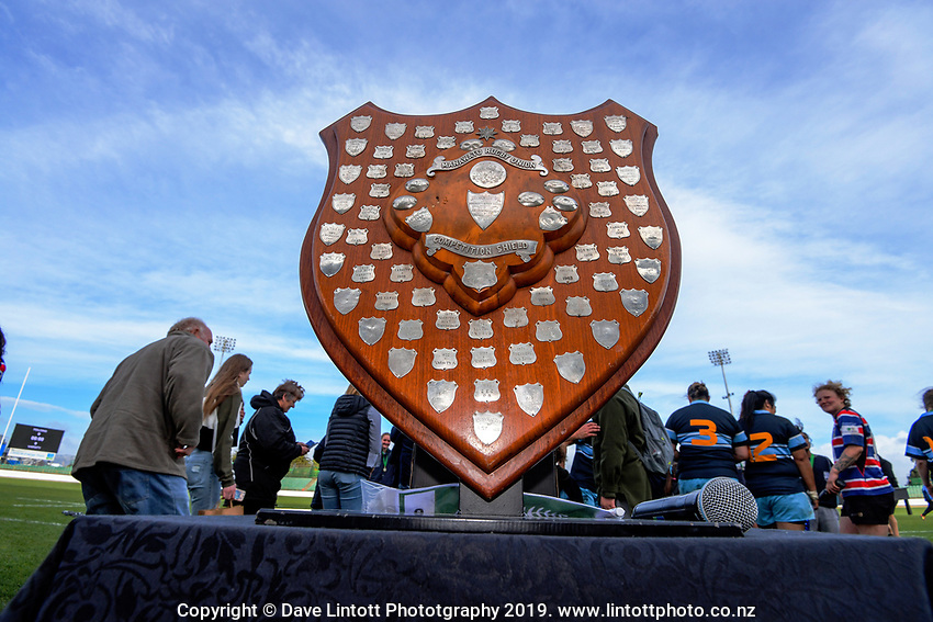 The Hankins Shield on display before the 2019 Manawatu premier club rugby Hankins Shield final match between Varsity and Feilding Yellows at CET Arena in Palmerston North, New Zealand on Saturday, 13 July 2019. Photo: Dave Lintott / lintottphoto.co.nz