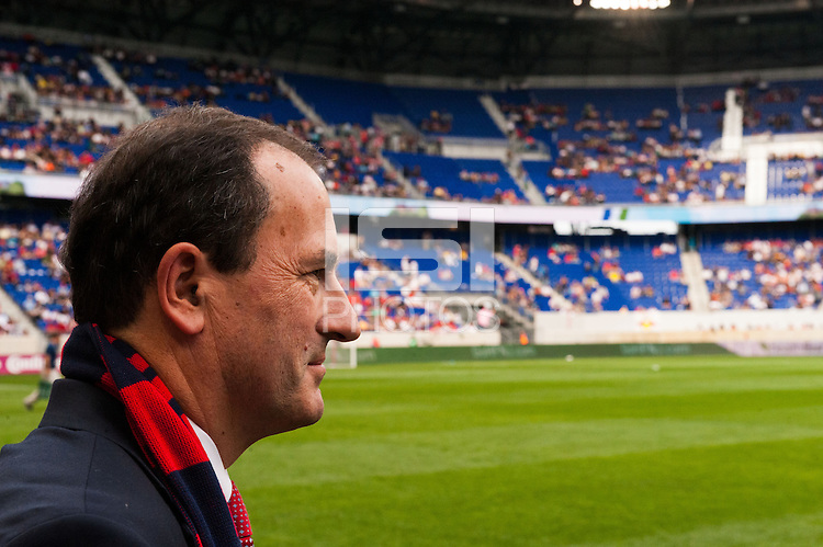 New York Red Bulls general manager Jerome de Bontin along the sidelines prior to the match against the  of the Chicago FireThe Chicago Fire defeated the New York Red Bulls 2-0 during a Major League Soccer (MLS) match at Red Bull Arena in Harrison, NJ, on October 06, 2012.